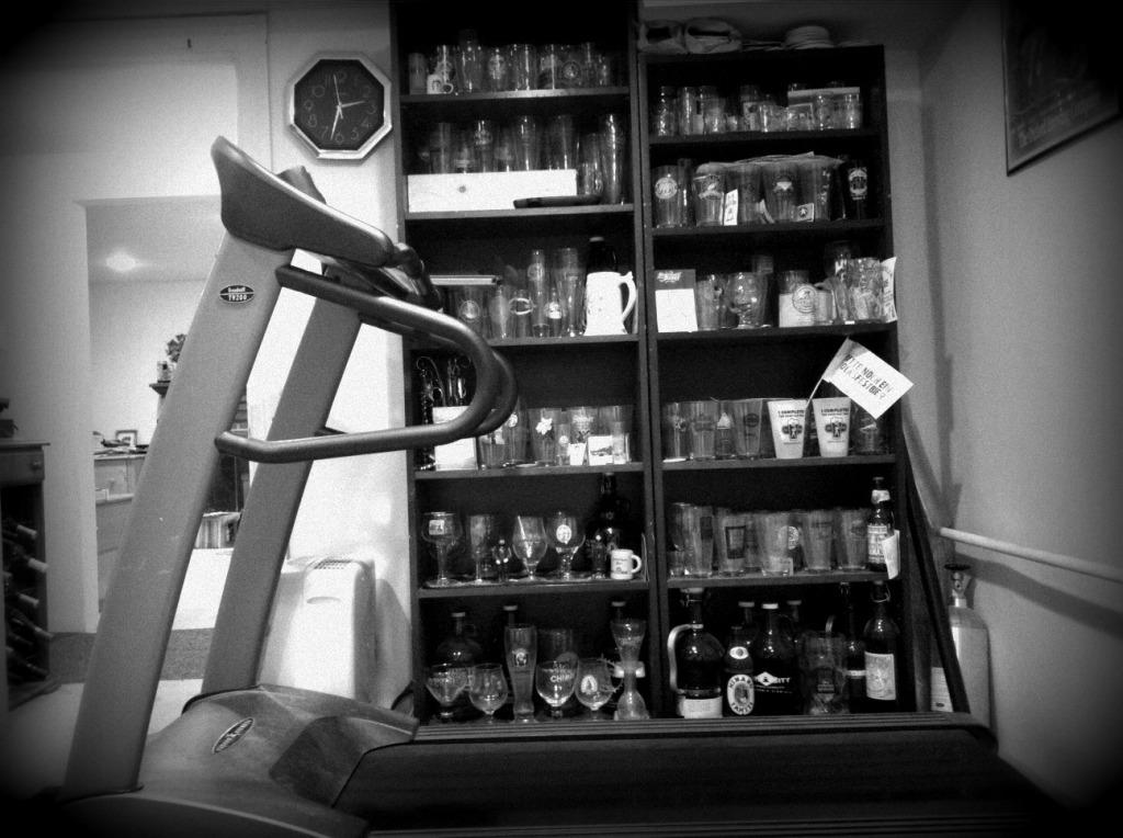 Vision Treadmill near beer glasses