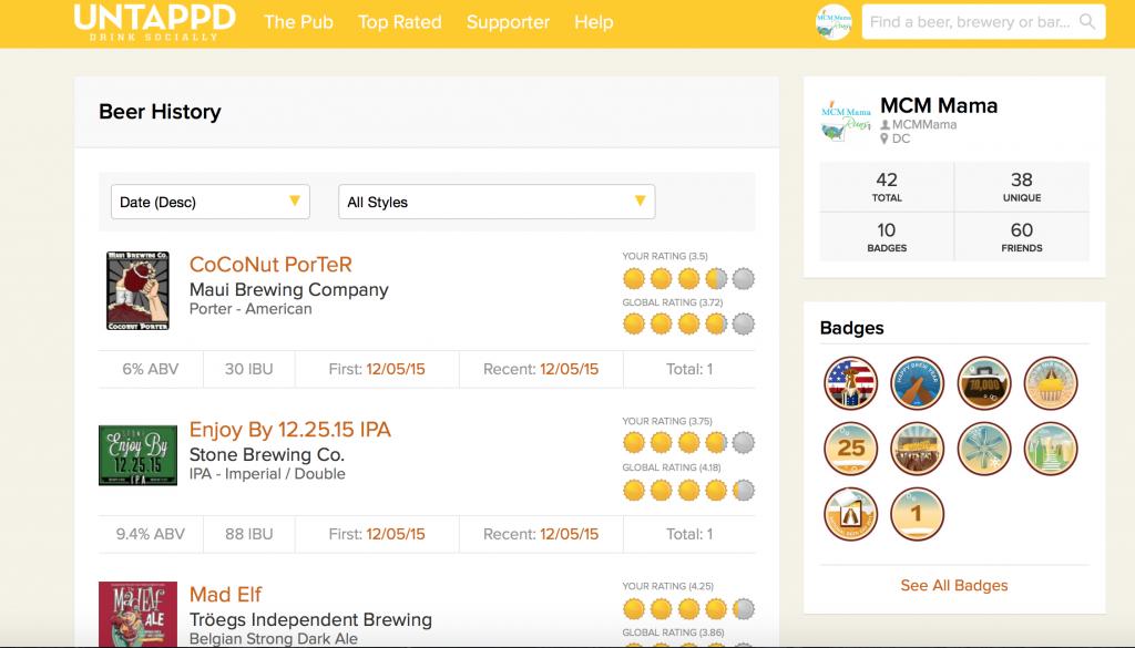 Untappd beer tracker