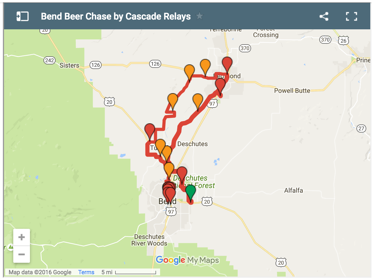 Bend Beer Chase course