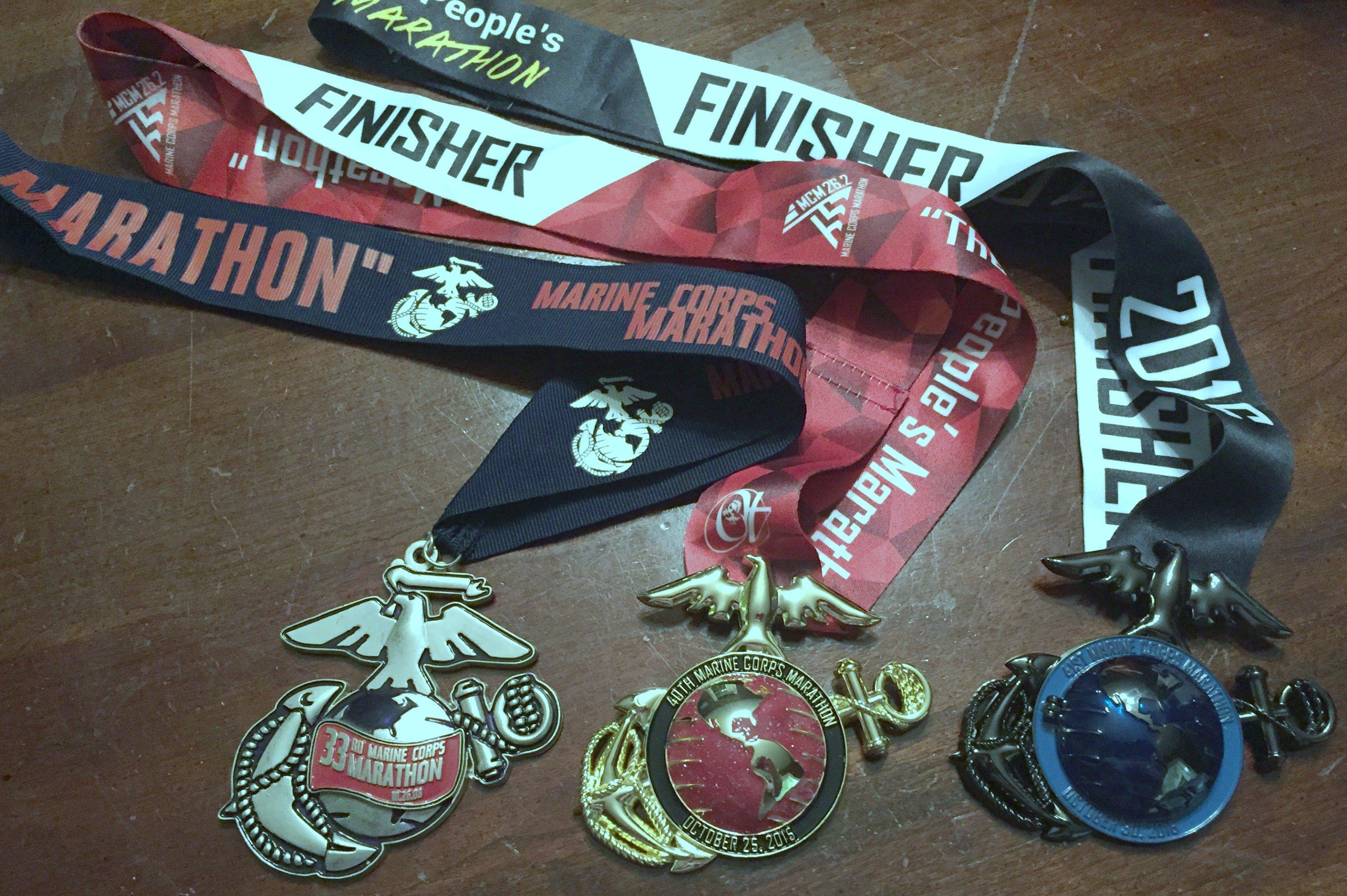 marine-corps-marathon-2016-2015-2008-medals
