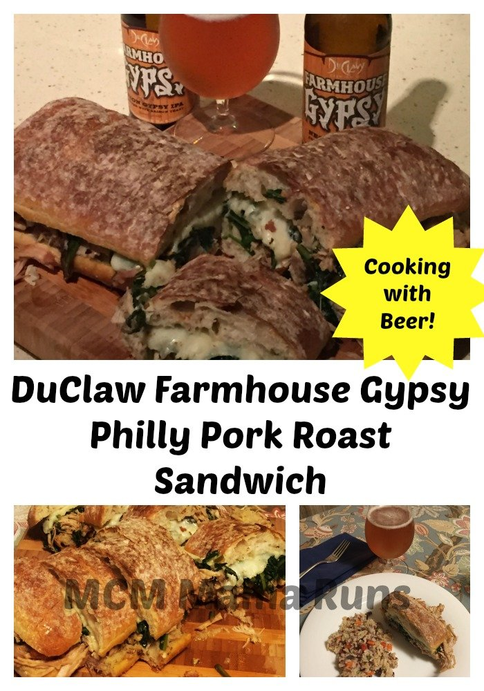 Pork roast cooked in DuClaw Farmhouse Gypsy makes a tasty version of the classic Philly pork roast sandwich.