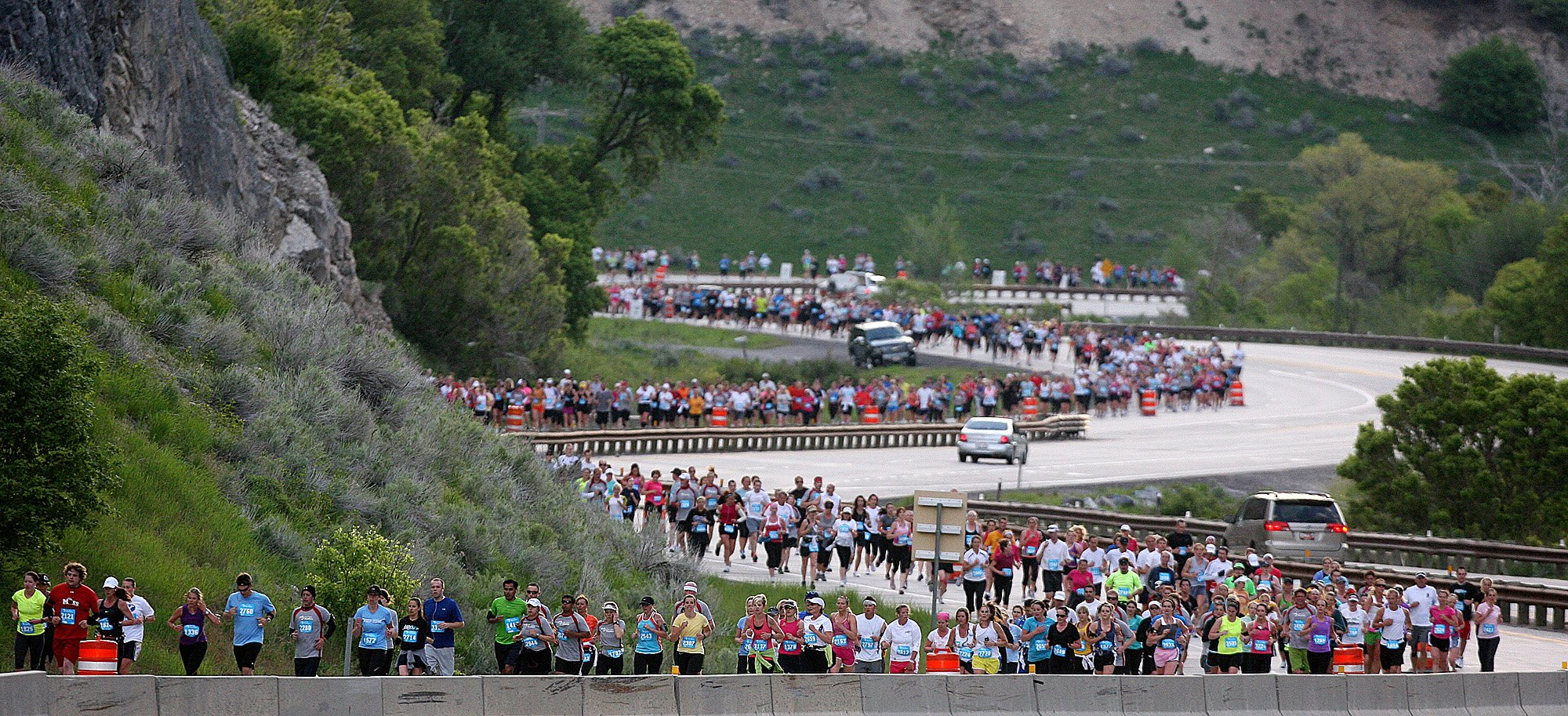 Participants in the 2011 Utah Valley Marathon run down Highway 189 in Provo Canyon Saturday, June 11, 2011. The Utah Valley Marathon has grown from 240 participants to nearly 6000 participants since the first marathon event in 2008. ANDREW VAN WAGENEN/Daily Herald